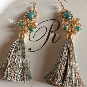 Tiffany Blue W/Brown Tassel Earrings